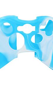 beschermende dual-color siliconen case voor de Xbox 360 controller (wit en blauw)