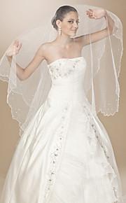 Voiles de Mariée Une couche Voiles chepelle Bord festonné / Bord perlé 86,61 dans (220cm) Tulle Blanc BlancA-ligne, Robe de bal,