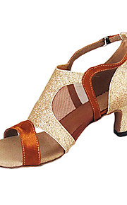 Customized Satin Ankle Strap Latin / Ballroom Dance Shoes With Sparkling Glitter (More Colors)