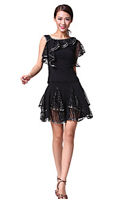 Performance Dancewear Cotton and Polyester and Tulle Latin Dance Top and Skirt For Ladies