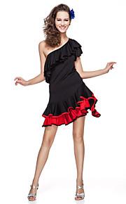 Latin dans Outfits Dames Opleiding Viscose Roesjes Zwart / Fuchsia Latin Dans Voorjaar / Zomer / Herfst Korte Mouw Natuurlijk