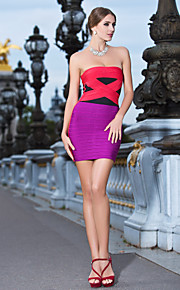Cocktail Party / Holiday Dress Petite Sheath / Column Strapless Short / Mini Rayon with Bandage