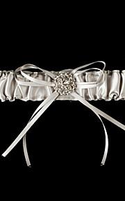 Bowknot satin belle et Jarretière de mariage en cristal