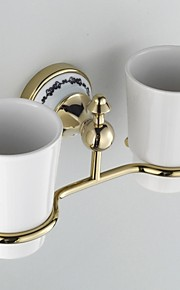 Ceramic Wall Mount Golden Ti-PVD Double Tumbler Toothbrush Holder