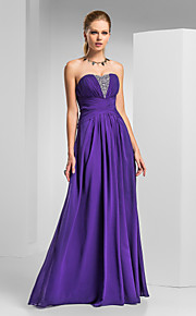 Prom / Formal Evening / Military Ball Dress - Elegant Plus Size / Petite A-line Strapless / Sweetheart Floor-length Chiffon withBeading /