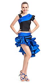 Dancewear satijn / spandex prestaties latin dance outfit voor dames