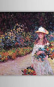 Huile peinture célèbre une jeune fille dans le jardin à Giverny par Claude Monet