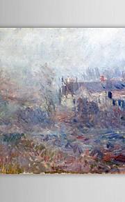 Peinture à l'huile célèbres Maisons à Falaise dans le brouillard par Claude Monet