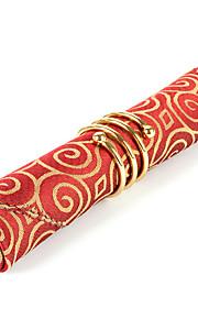 Sæt med 4 Røde spiralmønster Polyester Servietter