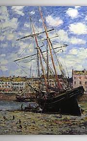 Célèbre peinture à l'huile Bateau à marée basse à Fécamp par Claude Monet