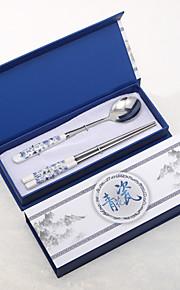 Bleu et blanc en céramique design cuillère et baguettes Set faveur de mariage