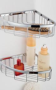 Bicamada Triangular Basket Canto cobre com ganchos banheiro prateleira de vidro