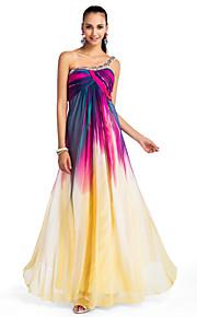 Aライン/, フォーマルイブニングパーティー/プロムドレス/ミリタリーボール ドレス シフォン ワンショルダー フロア 大きいサイズ
