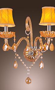 Artisitc Wall Light avec 2 nuances de tissu 2 lumières lustre Feature verre ambré Corne