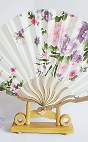 Floral Design Wave Style Hand Fan - Set of 4 (More Colors,Random Floral Patterns)