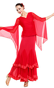 Ballroom Dancewear Viscose With Tulle Modern Dance Top For Ladies(More Colors)
