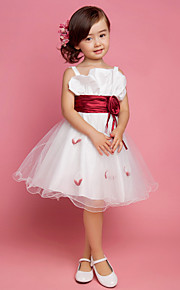 Flower Girl Dress - A-line/Princesse Longueur genou Sans manches Satin/Tulle