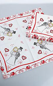 Cartoon novio y servilletas de novia