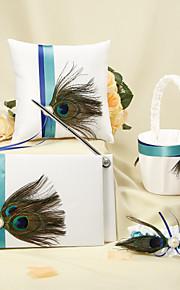 bande bleue avec plume de paon blanc collection de mariage set (4 pièces) de mariage de paon