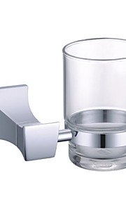 Contemporary Chrome Finish Brass Single Toothbrush Cup