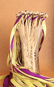 Purple&Yellow&Gold Wedding Ribbon Wand--(Set of 10)