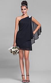 Lanting Short/Mini Chiffon Bridesmaid Dress - Black Plus Sizes / Petite Sheath/Column One Shoulder