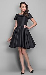Homecoming Cocktail Party Dress - Black Plus Sizes A-line/Princess Bateau Knee-length Taffeta