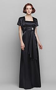 Formal Evening/Prom/Military Ball Dress - Black Sheath/Column Spaghetti Straps Floor-length Stretch Satin