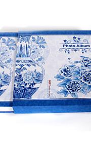 "Floral azul cerâmica papel do estilo 4 ""* 6"" Photo Album (480 bolso)"
