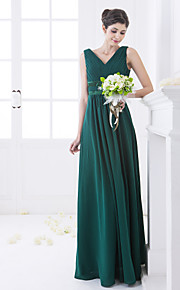Lanting Floor-length Chiffon Bridesmaid Dress - Dark Green Plus Sizes / Petite A-line V-neck