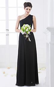 Lanting Floor-length Chiffon Bridesmaid Dress - Black Plus Sizes / Petite Sheath/Column One Shoulder