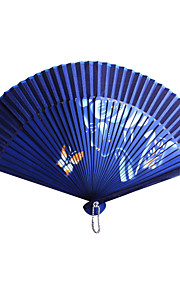 Airbrushed Banboo&Polyester Hand Fan - Set of 4 (Random Color)