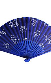 Floral bleu royal satin ventilateur de main - Ensemble de 4