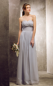 Lanting Floor-length Chiffon Bridesmaid Dress - Silver Plus Sizes / Petite Sheath/Column Sweetheart