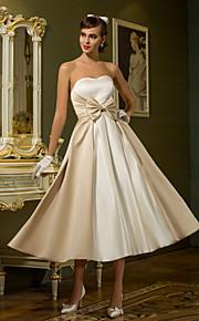 Lanting una línea / princesa pequeña / más tamaños de vestido de novia - té de longitud de marfil del satén del amor