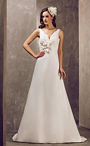 Lanting Bride® Corte en A Tallas pequeñas / Tallas Grandes Vestido de Boda - Elegante y Lujoso / Glamouroso Larga Cuello en V Satén con
