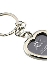 Personalized Engraved Gift Creative Heart Shape Photo Frame Keychains (Set of 6)