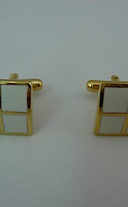 Gift Groomsman Personalized Gift Squared Metal Gold Cufflinks