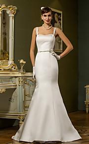 lanting trompeta / sirena vestido de novia más el tamaño de - marfil barrido / cepillo tren satén correas