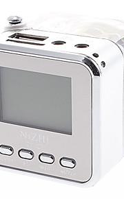 TT-028 Mini multifunktions højttaler med FM Radio, TF kortlæser, Ur funktion (Transparent)
