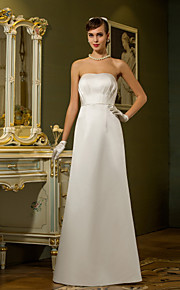 vaina lanting / columna más vestido de novia tamaños - marfil palabra de longitud satén sin tirantes