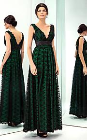 Prom/Military Ball/Formal Evening Dress - Dark Green Plus Sizes A-line V-neck Floor-length Lace/Taffeta