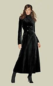 Women's Suit Lapel Double Breasted Slim Long Coat
