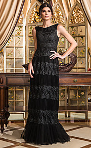 Formal Evening/Prom/Military Ball Dress - Black Plus Sizes Sheath/Column Scoop Floor-length Tulle
