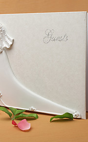 Bride and Groom De Sign Wedding Guest Book in White Resin Sign In Book
