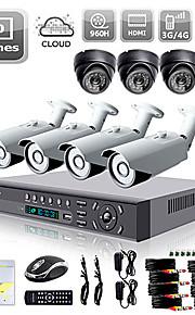 Liview® 700TVL  dag/nat-sikkerhedskamera og 8-kanals HDMI 960H DVR netværkssystem