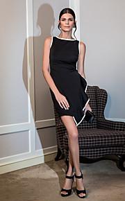 Cocktail Party Dress - Black Plus Sizes A-line Scoop Knee-length Jersey