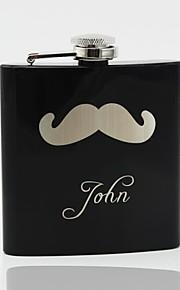 Gift Groomsman Personalized Black Stainless Steel 6-oz Flask - Beard