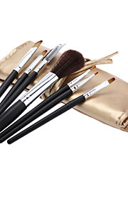 Cosmetic Brush Tools with Gold Leatherette Pouch