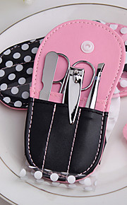 4 Pieces Manicure/Pedicure Set with Flip Flops Pink Polka Purse